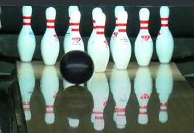 Bowling Shoes Feature - Ball about to Strike