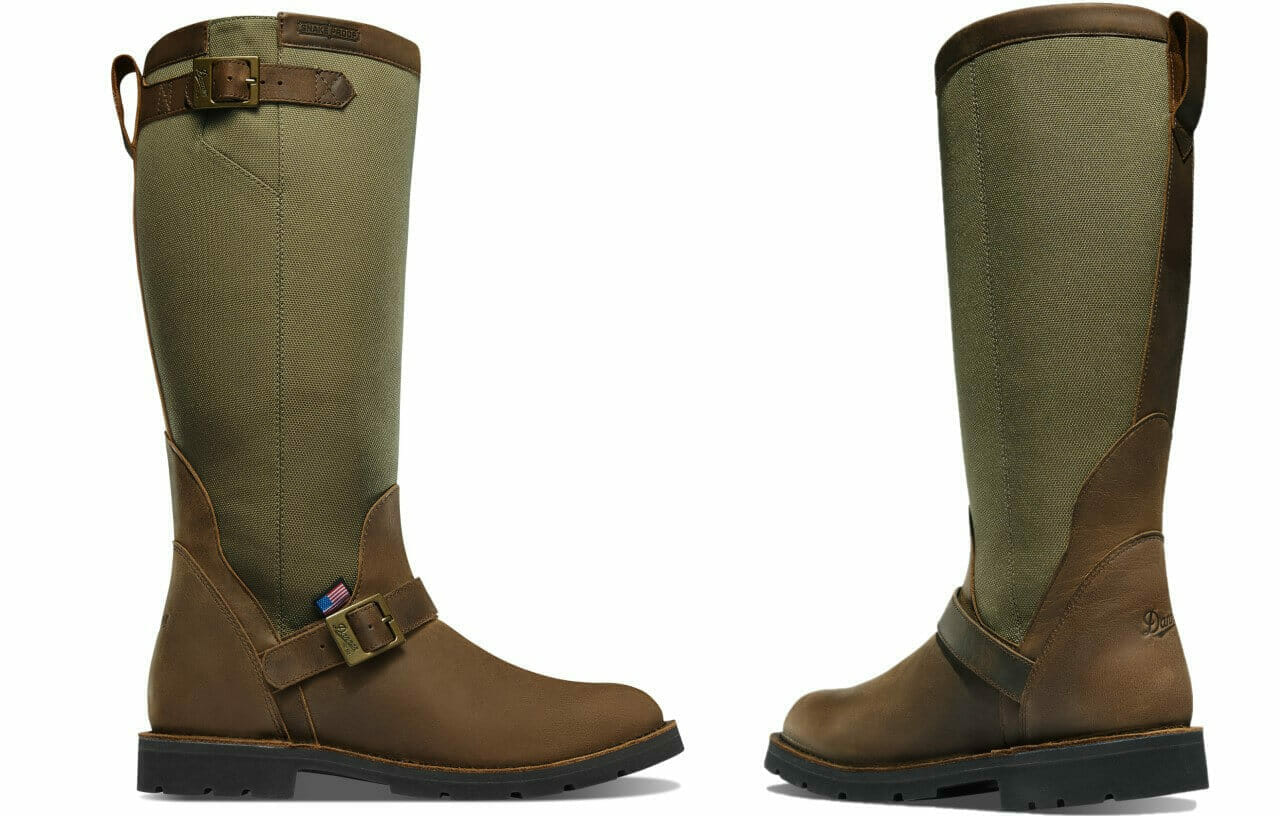 Danner San Angelo Pull On Snake boot for men side and rear details featuring made in the USA logo