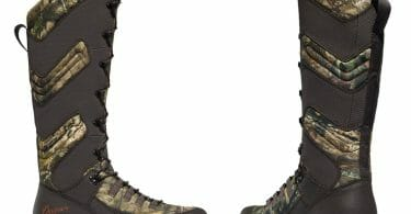 Danner Mens Vital snake proof boots details of side and rear of leather and camo hunting boot