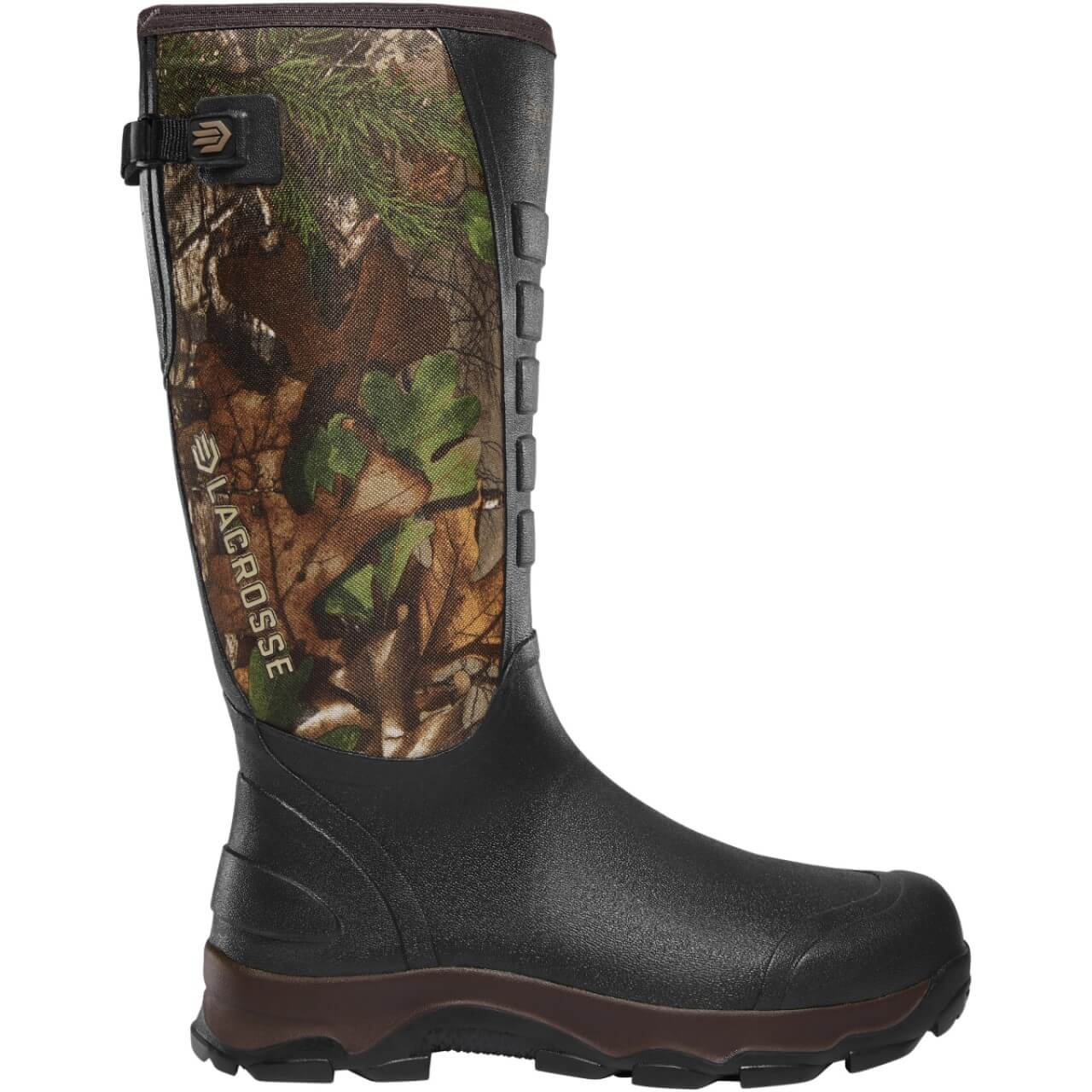 Profile view of the LaCrosse 4x Alpha snake boot for extremely muddy and wet conditions, full heavy-duty rubber boot construction