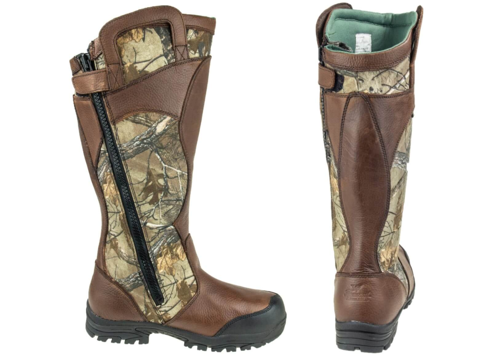 Thorogood snake boot detailed images of side zipper and rear heel of boot with mossy oak breakup pattern