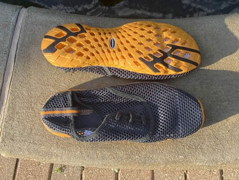 Details of the mesh upper and outsole side by side comparison.