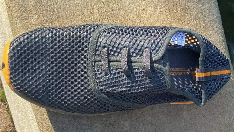 Overhead view of the ALEADER showing details of the lacing system and the mesh upper