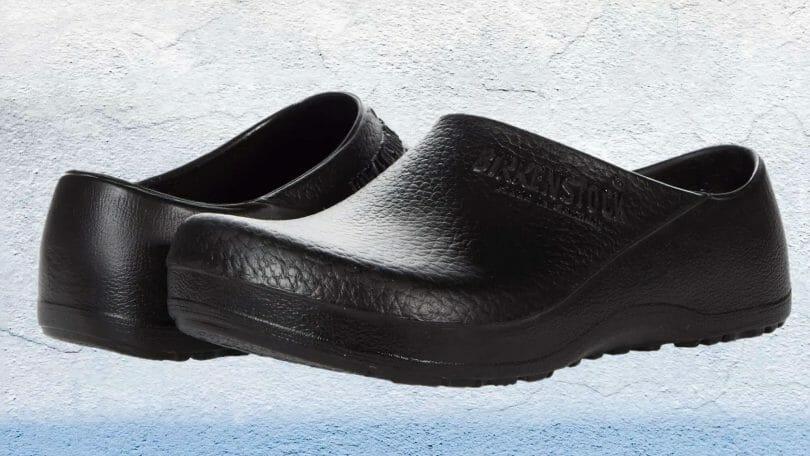 Feature image of a pair of Birkenstock Profi Birki professional non slip kitchen clogs