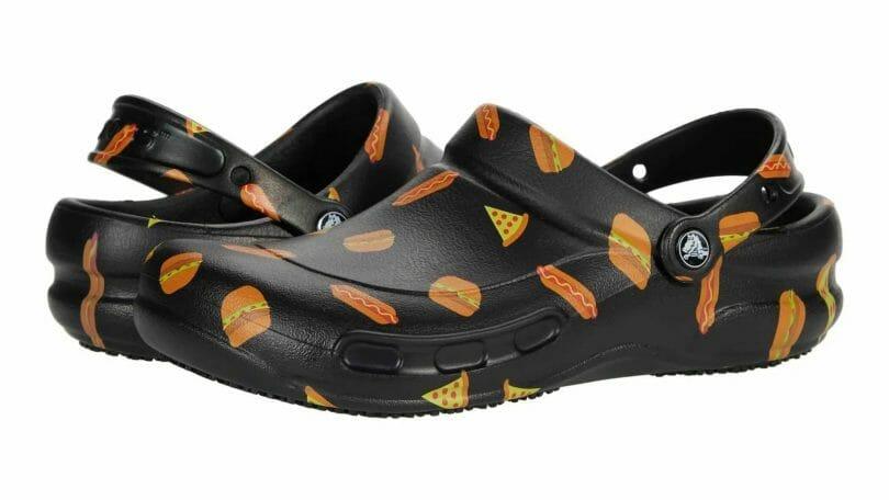 Crocs graphic bistro clog with hamburger and hotdog design.