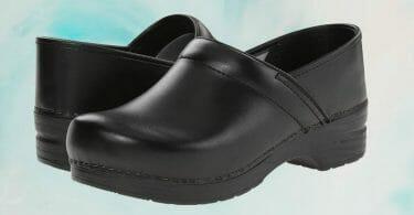 Pair of black box leather Dansko Professional clogs for chefs, nurses, and maximum comfort
