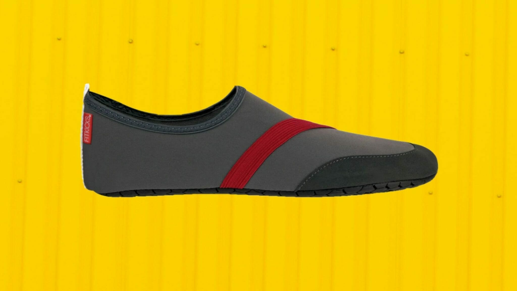 FitKicks Active mens shoes in grey with a red stripe.
