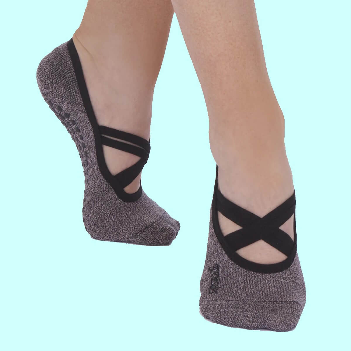 Active socks for pilates and yoga by Great Soles with grip and cross strap for forefoot.