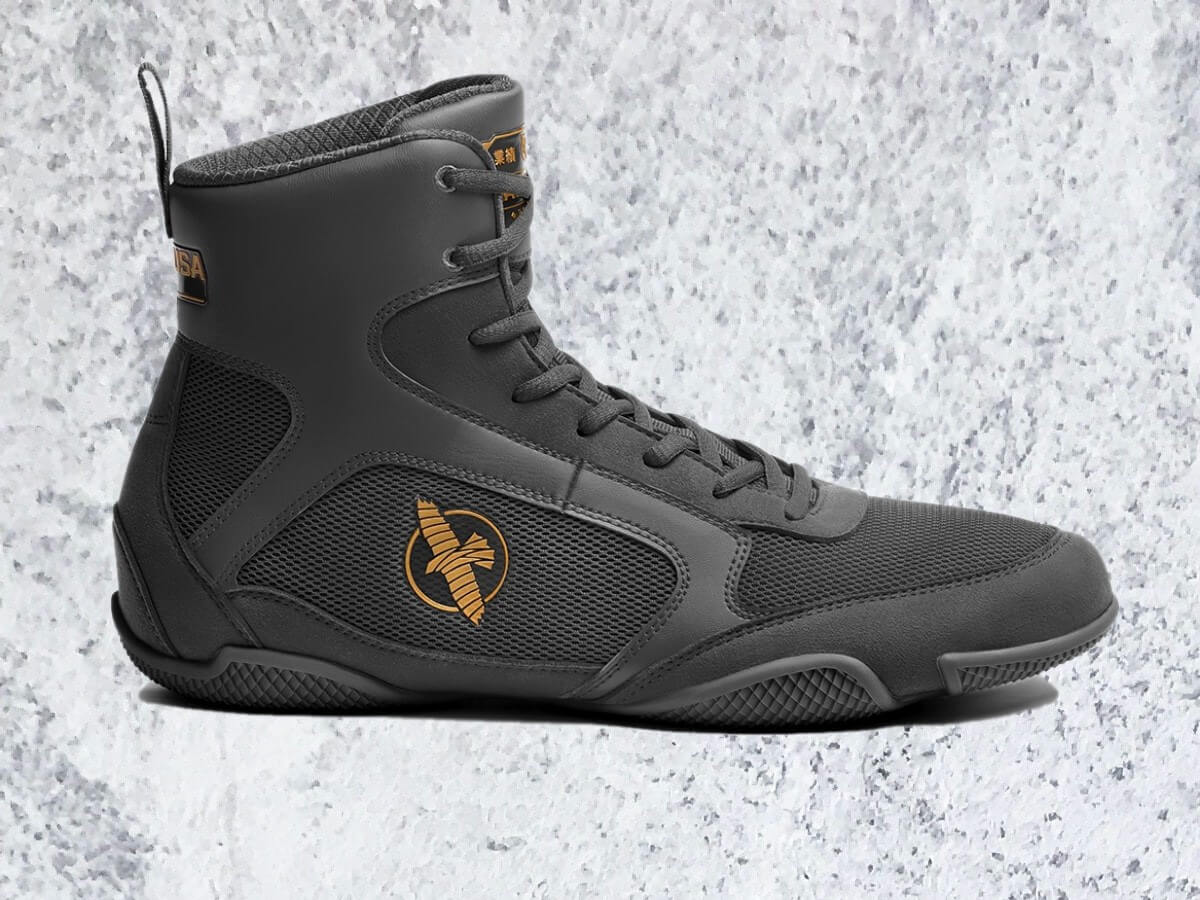 Hayabusa fighting shoes profile in Grey and copper