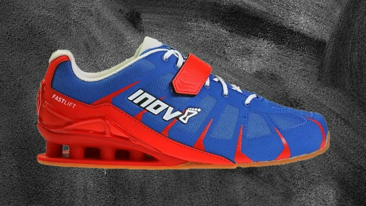 Inov-8 FastLift 360 mens olympic lifting shoe profile of red and blue model.