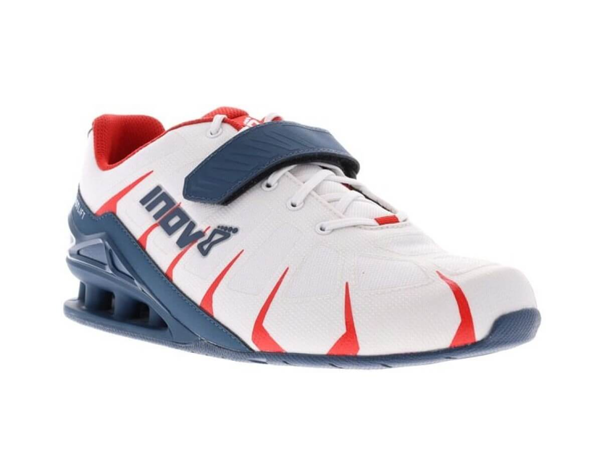 Inov-8 FastLift 360 women's shoe for squats in red, white, and blue.