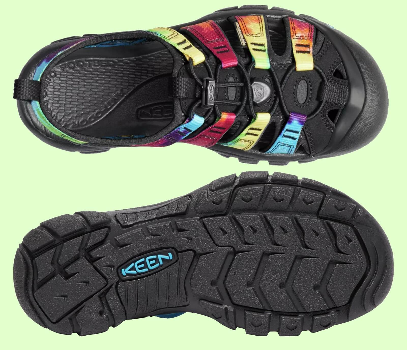Details of the vibram sole and the synthetic upper on the KEEN Newport H2 Sandal