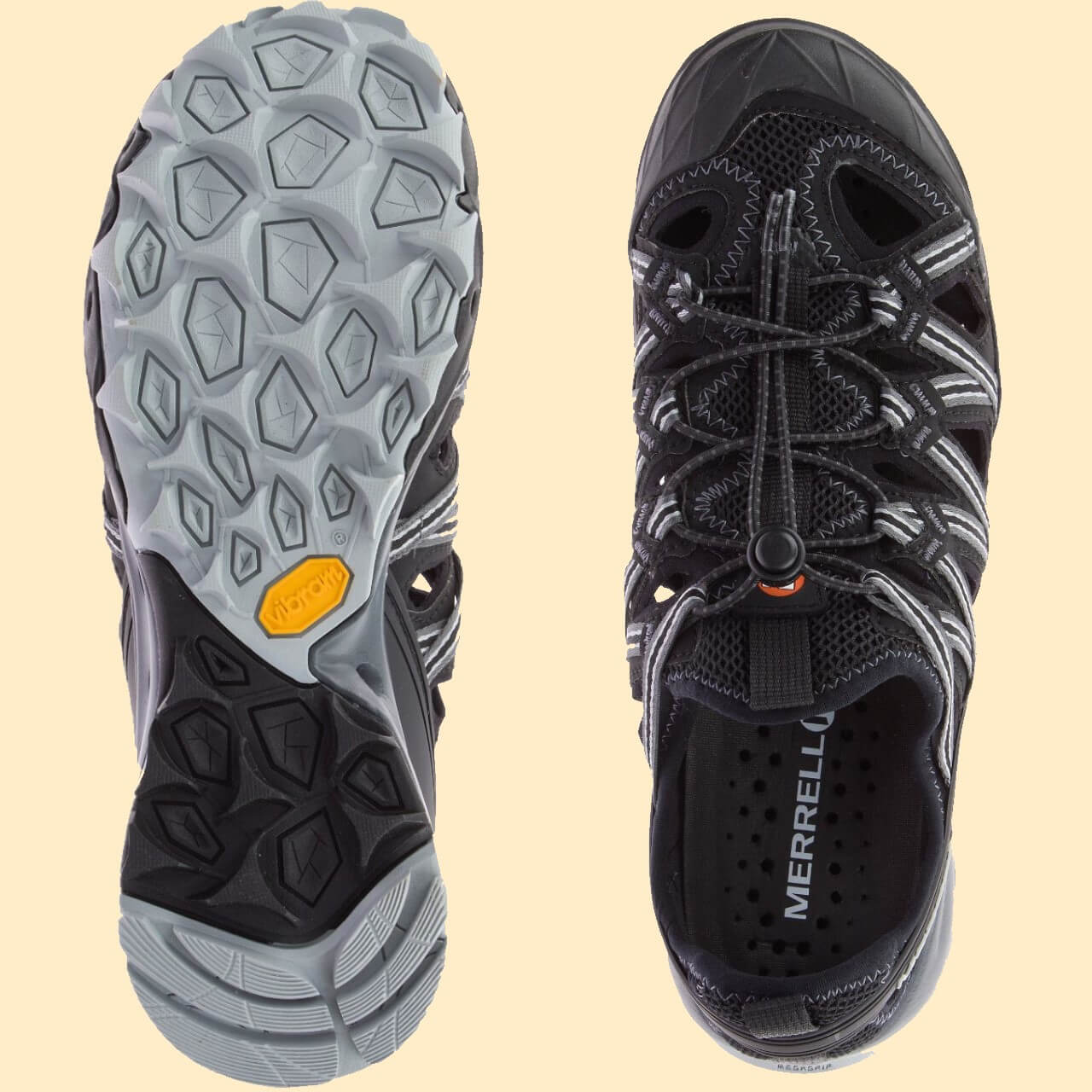 Side by side view of the lacing system and the Vibram outsole of Merrell water shandal