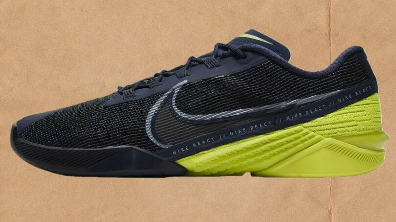 Profile view of the Nike React Metcon Turbo running focused CrossFit trainer.