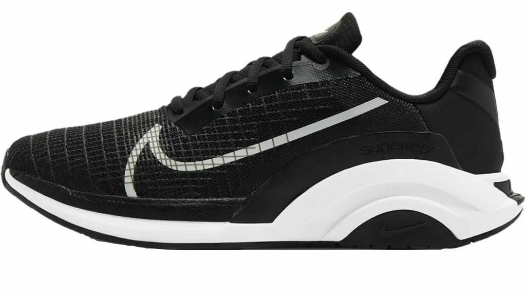 Profile view of the Nike SuperRep Surge Endurance Workout Shoe in Black and White
