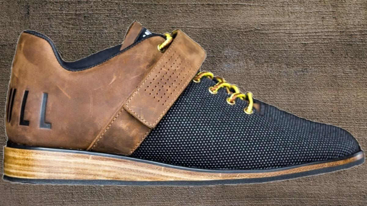 NoBull lifter is a black canvas and leather lifter with a solid wood heel.