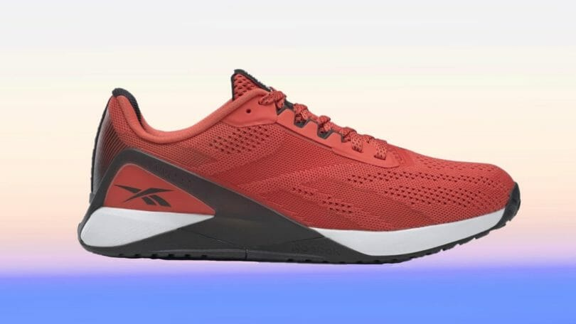 Red and White Reebok Nano X1 profile view showing reinforced heel cup for lateral stability.