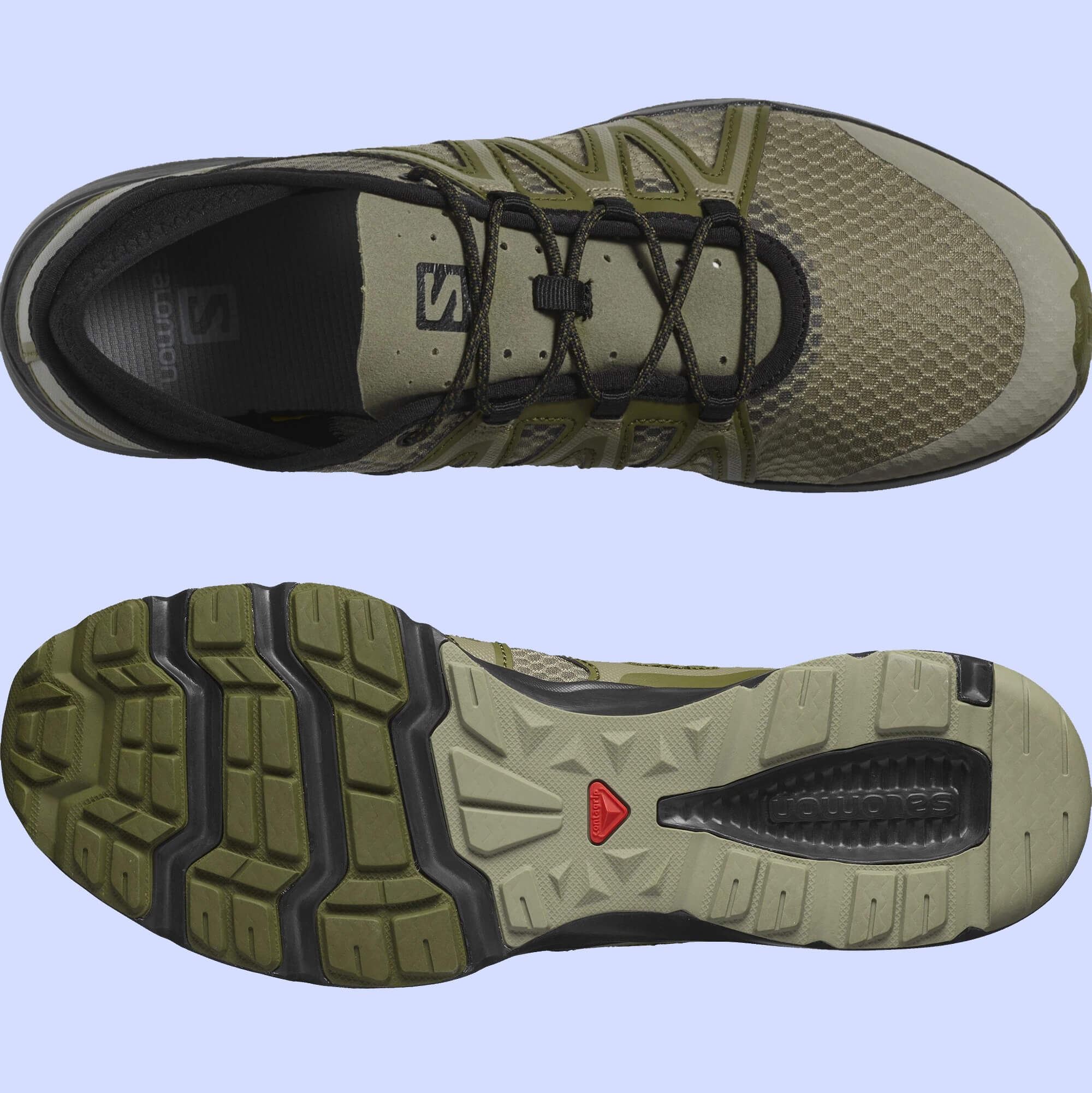 Outsole and overhead details on the Salomon Crossamphibian Swift 2 water running shoe