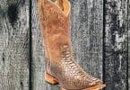 Snakeskin cowboy boot on weathered wood background.