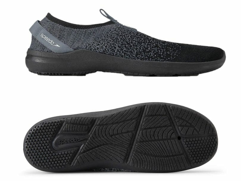 Speedo Surf Knit Pro grey and black in profile and the S-traction outsole system detail