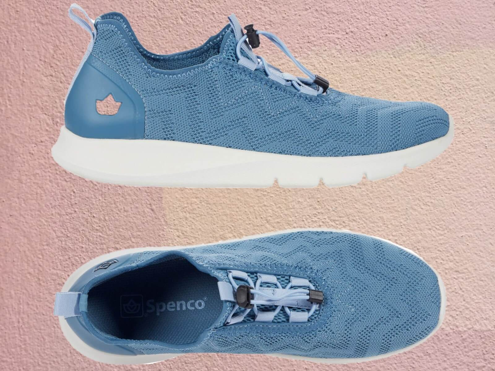 Spenco chelsea sneakers in light blue with both overhead and profile details