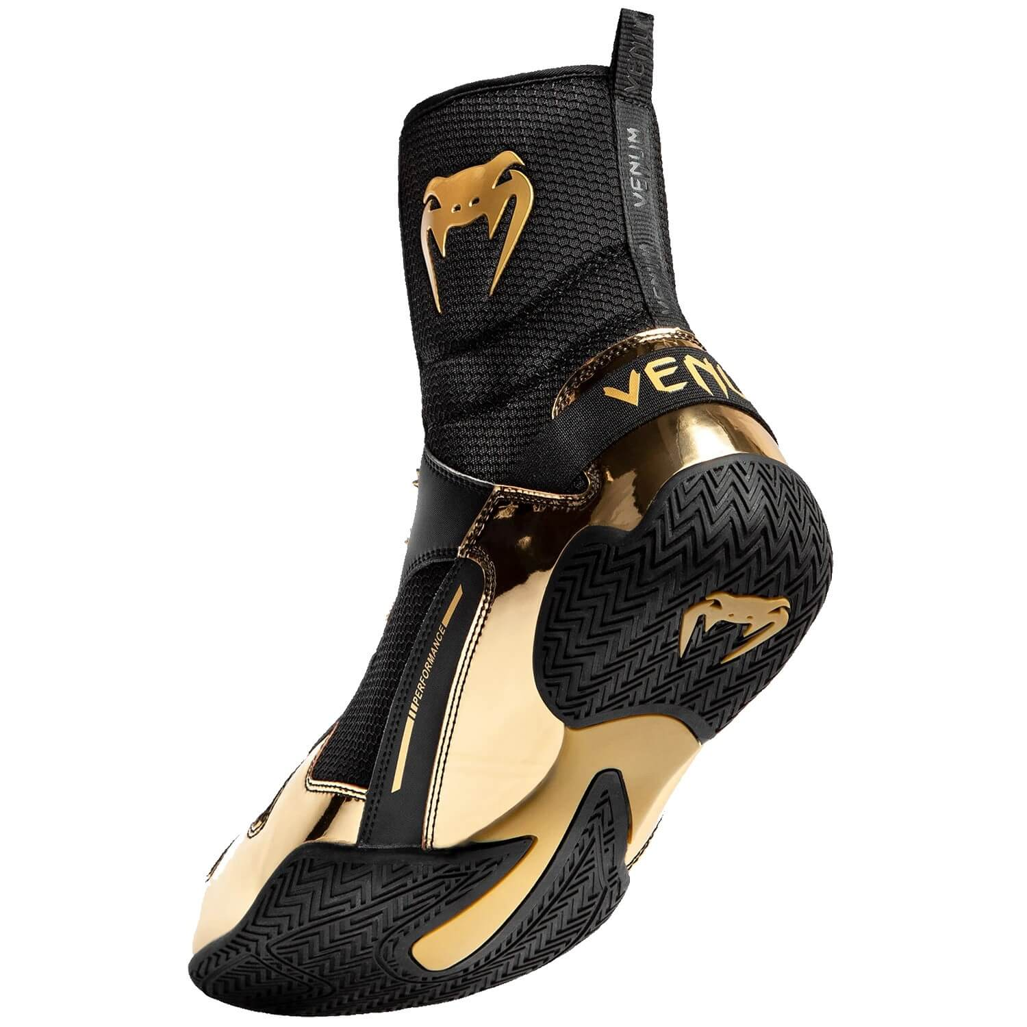 Black and gold Venum Elite rear shot showing upper and outsole