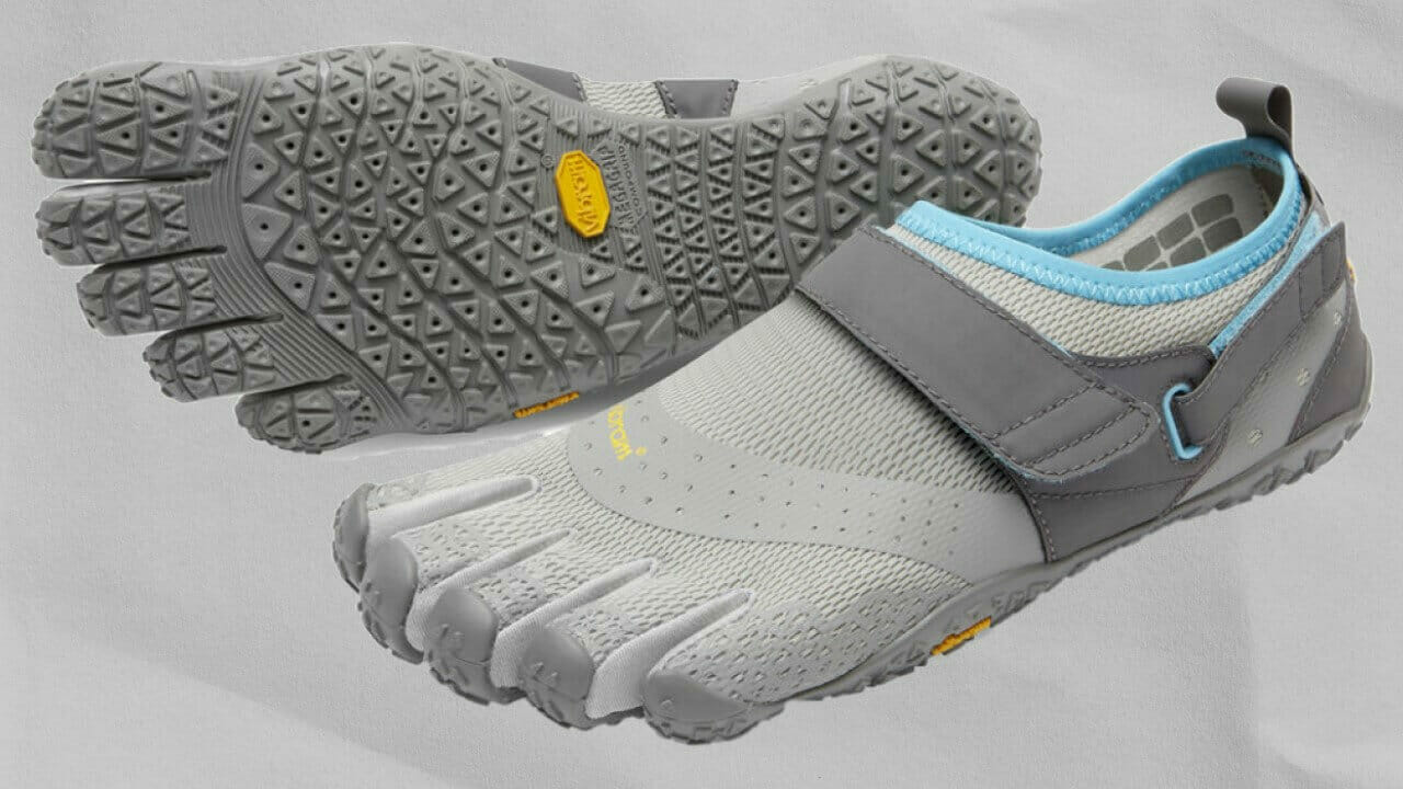 Pair of Vibram FiveFingers V-Aqua water shoes with velco strap