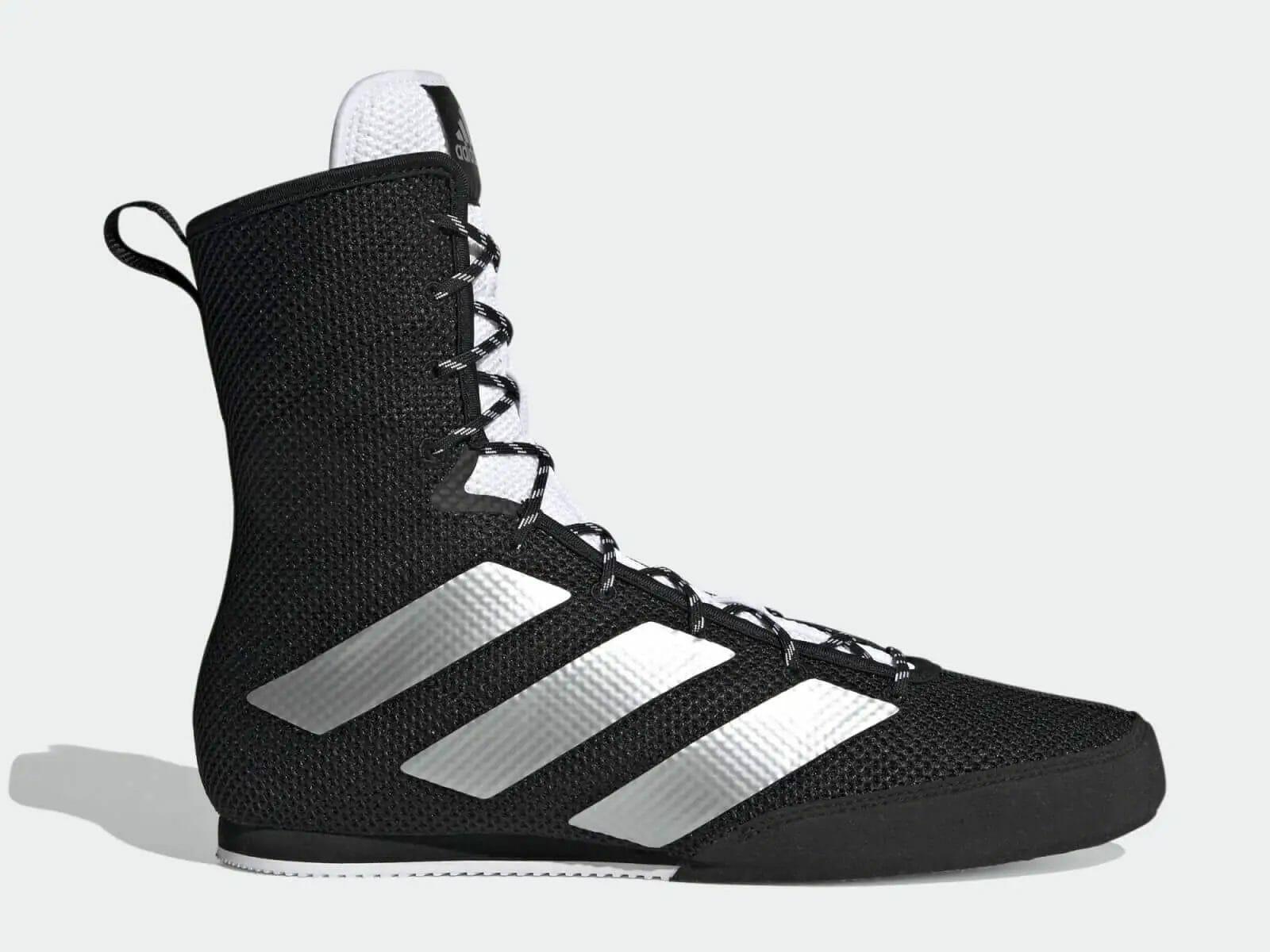 Profile of black and white adidas Box Hog 3