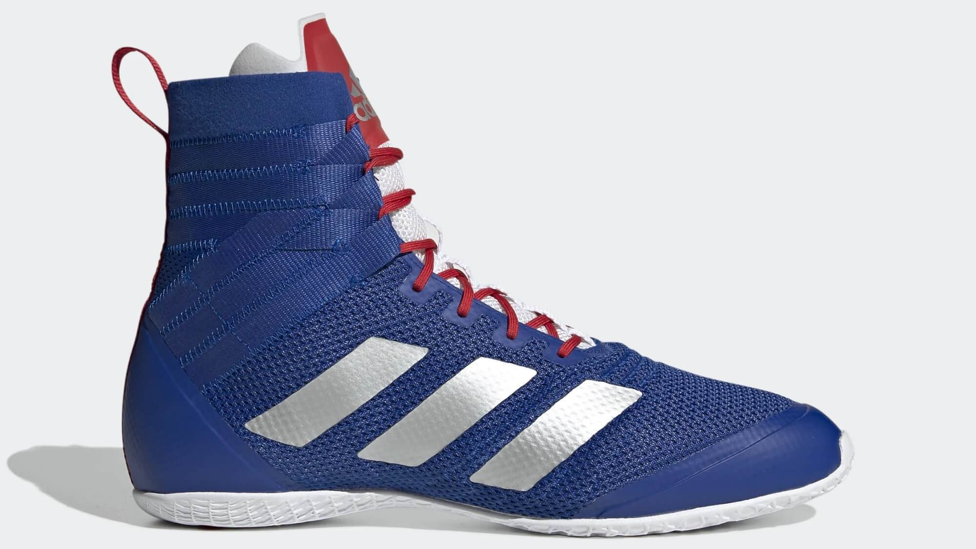 Profile of Blue white and red adidas Speedex 18, Shoe Guide's choice for the best boxing shoes